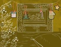 Stanza di Natale con il camino ed i decori di Natale Immagine Stock Libera da Diritti