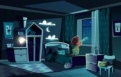Stanza di notte di vettore, ragazzo che guarda dal cannocchiale illustrazione di stock
