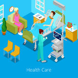 Stanza di ospedale isometrica con il paziente e l'infermiere Concetto di sanità 3d Immagine Stock Libera da Diritti