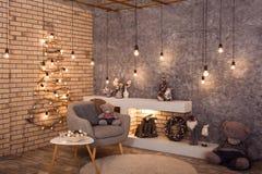 Stanza di stile del sottotetto di inverno con la decorazione di Natale Fotografia Stock