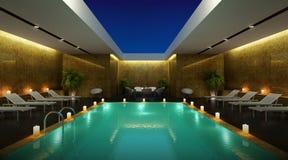 Stanza di vista del cielo del salotto di pisine dell'albergo di lusso Fotografie Stock Libere da Diritti