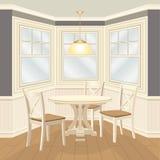 Stanza dinning classica con la tavola rotonda ed il bovindo delle sedie illustrazione di stock