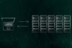 Stanza e computer portatile del server con le frecce del trasferimento di dati Immagini Stock Libere da Diritti