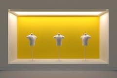 Stanza frontale di negozio o podio vuota con illuminazione e una grande finestra Immagine Stock Libera da Diritti