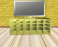 Stanza gialla del mattone con la TV illustrazione di stock