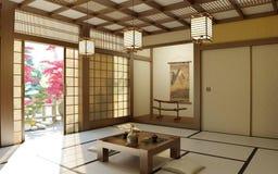 Stanza giapponese di zen Immagini Stock Libere da Diritti