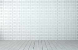Stanza interna con il muro di mattoni ed il pavimento di legno Fotografie Stock Libere da Diritti