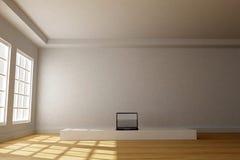 stanza interna 3D con il computer Fotografia Stock