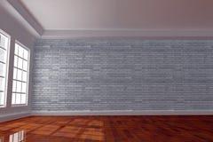 stanza interna 3D con il muro di mattoni Fotografia Stock