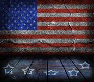 Stanza interna vuota con i colori della bandiera americana Fotografie Stock Libere da Diritti
