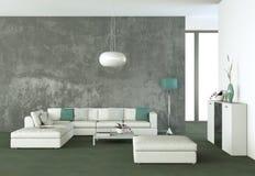 Stanza luminosa con il sofà e la tavola bianchi royalty illustrazione gratis