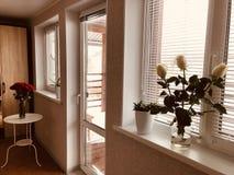 Stanza luminosa di una casa di campagna rustica con i mazzi delle rose su grande Windows con i ciechi fotografie stock libere da diritti