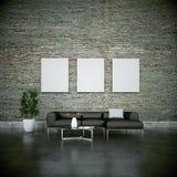 Stanza luminosa moderna di interior design con il sofà grigio royalty illustrazione gratis