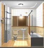 Stanza marrone chiaro del bagno Fotografia Stock