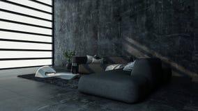 Stanza minimalista con il sofà in piano moderno illustrazione di stock