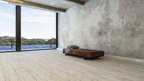 Stanza minimalista dell'attico con il sofà e la vista del banco illustrazione di stock