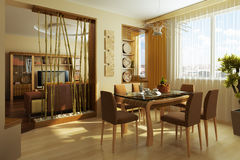 Stanza moderna 3d interno del pranzo Immagine Stock