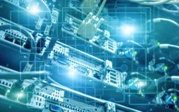 Stanza moderna astratta del centro dati Concetto elettronico di tecnologia di hardware Fondo di tecnologia delle carte da parati illustrazione vettoriale