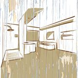 Stanza moderna del bagno dell'hotel, schizzo d'annata illustrazione di stock