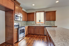Stanza moderna della cucina con i gabinetti, i ripiani del granito ed il pavimento di legno duro marroni Fotografie Stock