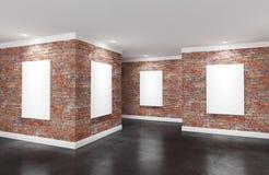 Stanza moderna della galleria con i manifesti sulle pareti illustrazione di stock