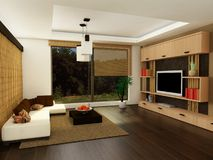 stanza moderna vivente Fotografia Stock Libera da Diritti