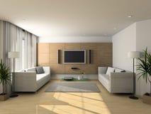 stanza moderna vivente dell'interiore Fotografie Stock Libere da Diritti