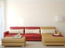 stanza moderna vivente rappresentazione 3d Fotografie Stock