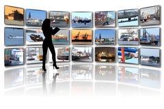 Stanza, navi e porto di media Fotografie Stock