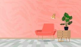 Stanza nei toni di corallo con una composizione di una sedia con una lampada e un fiore Illustrazione piana di vettore immagini stock libere da diritti