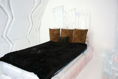 Stanza nell'hotel del ghiaccio di Quebec City Immagine Stock