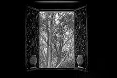 Stanza nera, finestra bianca Fotografia Stock