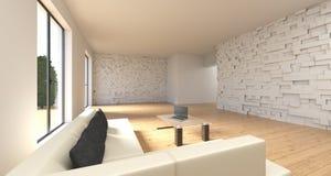 Stanza realistica con Sofa And Table With Laptop rappresentazione 3d Fotografie Stock