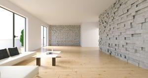 Stanza realistica con Sofa And Table With Laptop rappresentazione 3d Fotografie Stock Libere da Diritti