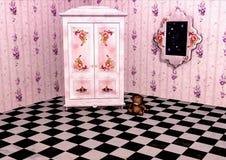 Stanza rosa con un guardaroba Fotografia Stock