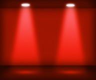 Stanza rossa con due riflettori illustrazione di stock