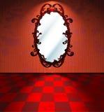 Stanza rossa con lo specchio illustrazione vettoriale