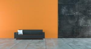 Stanza vuota ad alto contrasto con i mura di cemento arancio e scuri e royalty illustrazione gratis