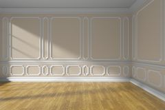 Stanza vuota beige con il pavimento di parquet e del modanatura Fotografia Stock