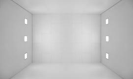 Stanza vuota bianca con gli indicatori luminosi quadrati Fotografia Stock