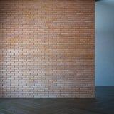 Stanza vuota con il muro di mattoni, rappresentazione 3d Fotografie Stock Libere da Diritti