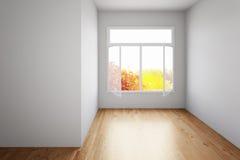 Stanza vuota con il pavimento di legno duro Fotografia Stock Libera da Diritti