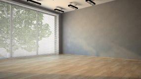 Stanza vuota con il pavimento di parchè Immagine Stock