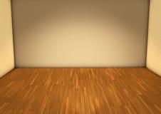 Stanza vuota con la parete beige leggera ed il pavimento di parquet di legno Immagini Stock Libere da Diritti