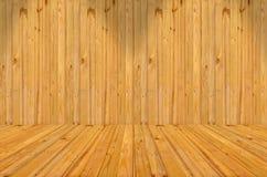 Stanza vuota con la parete ed il pavimento di legno, un'immagine di un di legno piacevole Royalty Illustrazione gratis