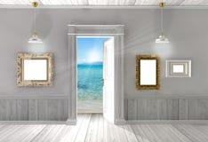 Stanza vuota con la porta aperta Fotografia Stock
