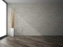 Stanza vuota con la rappresentazione della decorazione 3D dei rami Fotografia Stock