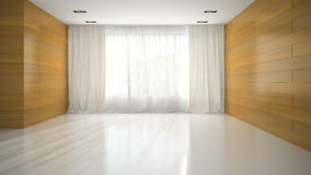 Stanza vuota con la rappresentazione di legno della parete 3D Fotografie Stock Libere da Diritti