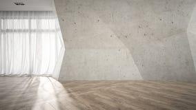 Stanza vuota con la rappresentazione rotta del muro di cemento 3D Immagine Stock Libera da Diritti