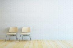 Stanza vuota con la sedia due ed il muro di mattoni bianco Fotografie Stock Libere da Diritti